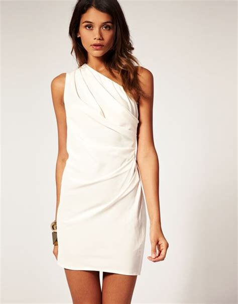 white drape dress asos collection asos petite drape one shoulder dress with