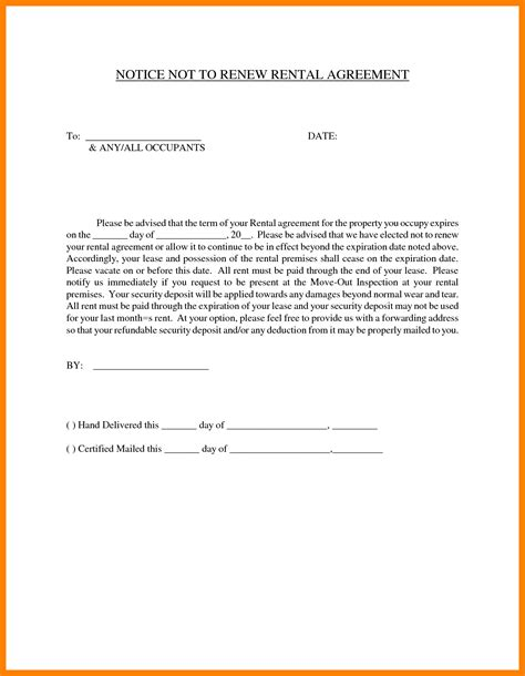 Nonrenewal Of Lease Letter Template 6 non renewal letter format sales clerked