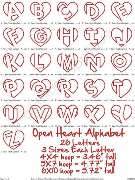 tattoo alphabets and pictures to pin on pinterest tattooskid open heart applique alphabet 26 letters 3 by