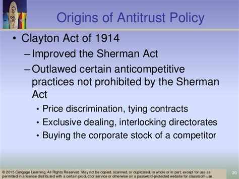 section 1 of the sherman act ch 15 economic regulation and antitrust policy micro econ4