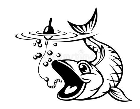 fish catching  hook stock vector illustration  pond