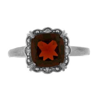 cushion cut garnet gemstone white gold ring