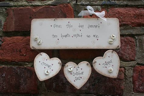 Handcrafted Plaques - personalised handmade wedding plaque keepsake by primitive