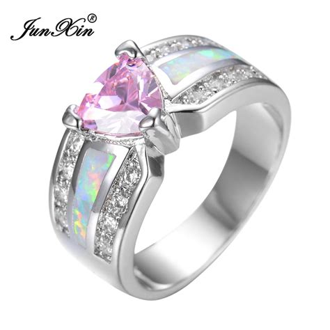 Pink Ring by Junxin Fashion Pink Opal Ring White