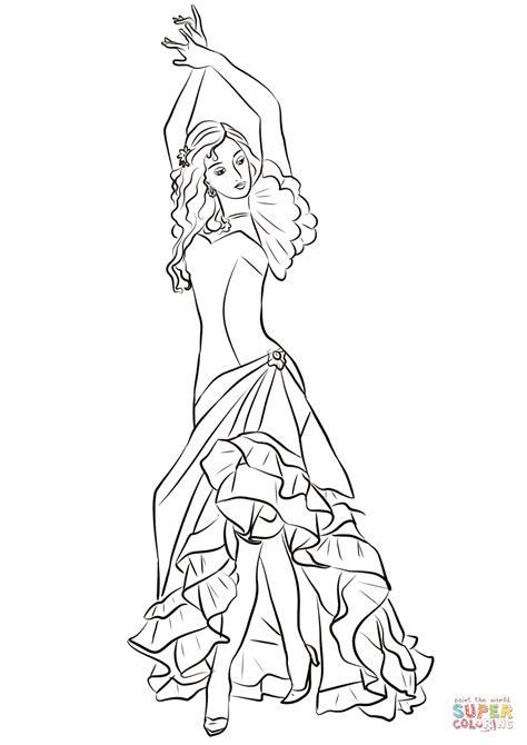 Desenho de Garota do flamenco para colorir | Desenhos para