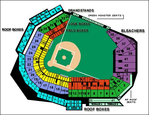seat chart fenway park fenway park seating chart with rows and seat numbers