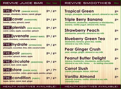 Detox Bar Menu by Smoothie Bar Bar Menu And Smoothie On