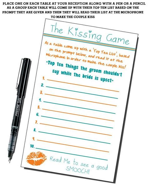 kissing game ten list see bride and groom