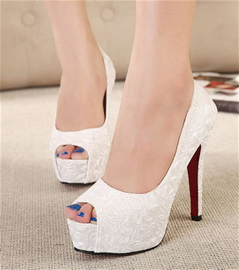 Wedding Shoes Heels White by 2015 New Sweet White Wedding Shoes Bottom High Heels
