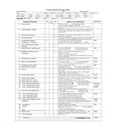 Mechanic Sheet Template by Repair Estimate Template 18 Free Word Excel Pdf