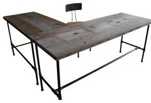 Modern industry l shape reclaimed wood desk natural standard 72 quot x30