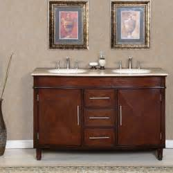 Double Sink Bathroom Vanity Top by Silkroad Exclusive Travertine Top 55 Inch Double Sink