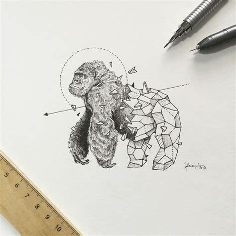 geometric gorilla tattoo intrincados dibujos de animales que se funden con figuras