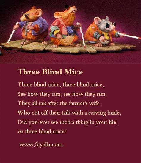 What Rhymes With Blind three blind mice nursery rhymes poems poems for
