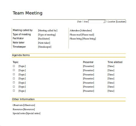 team meeting agenda template meeting agenda template 46 free word pdf documents