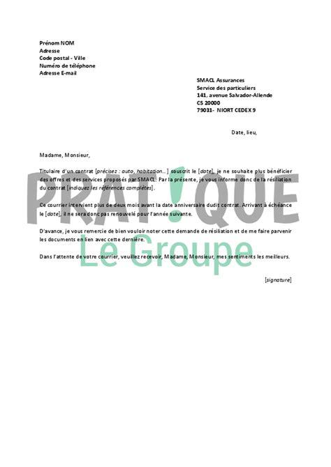 Resiliation Lettre Loisirs Lettre De R 233 Siliation Smacl Pratique Fr