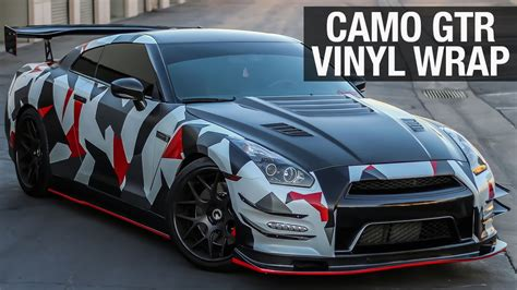 nissan gtr wrapped nissan gtr camo vinyl wrap premium auto styling youtube