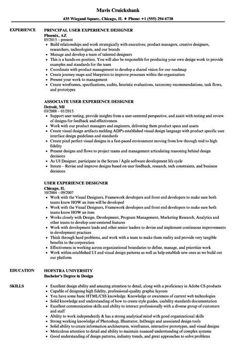 user experience designer resume sles velvet