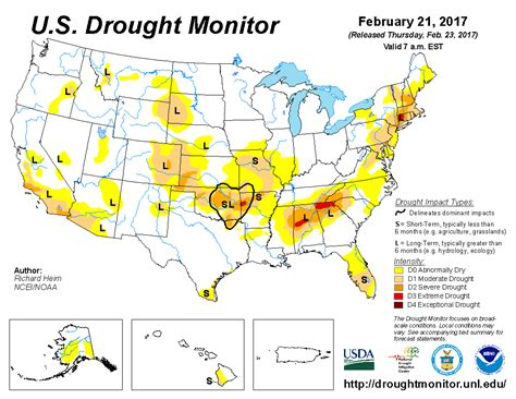 us weather drought map u s drought monitor update for february 21 2017