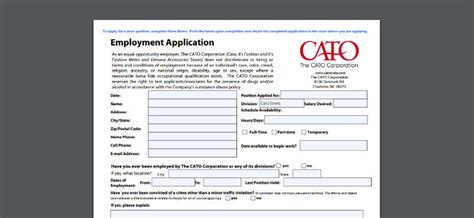 printable job application for catos cato application online form job interview tips