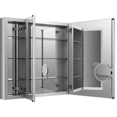 kohler kitchen cabinets kohler verdera 40 in w x 30 in h recessed medicine cabinet in anodized aluminum k 99011 na