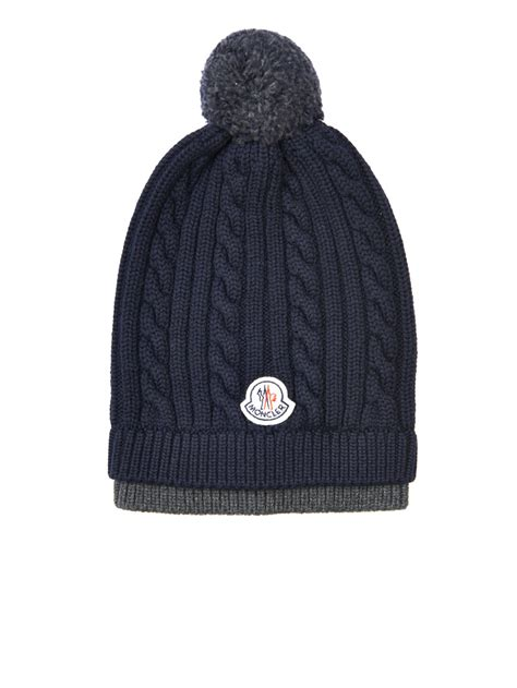 cable knit beanie moncler cable knit wool beanie hat in blue for lyst