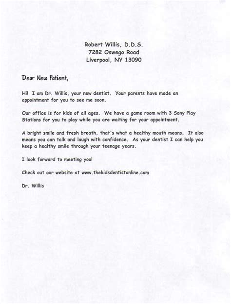 dentist appointment letter template new dentist office sle business letter sle
