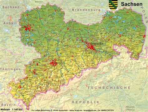 gebirgskarte deutschland sachsen physisch lernteppich lerspi de