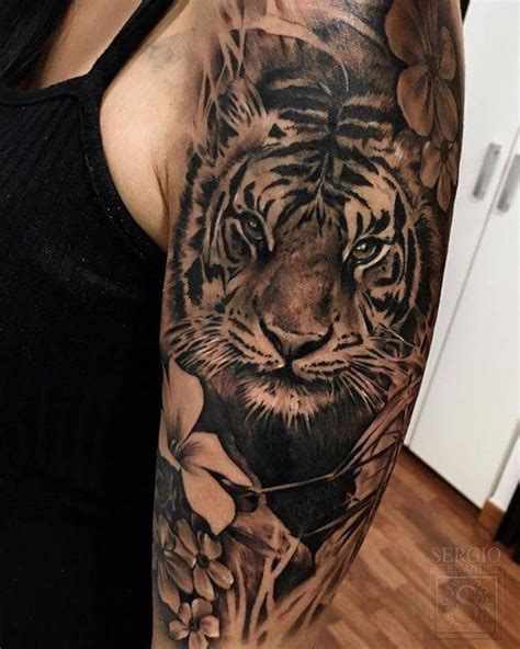 animal tattoo upper arm black and grey tiger tattoo on the left upper arm 2 ink