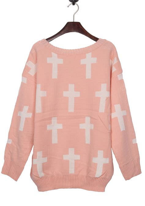 Premium Cross Cardigan Pink pink neck and white cross pattern jumper sweater shein sheinside