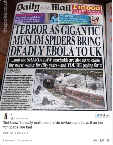 this daily mail headline about muslim spiders