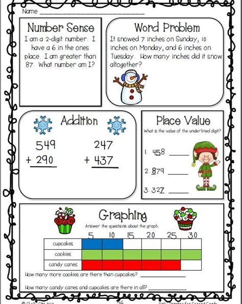 2nd grade grammar christmas common math and language arts daily practice for second grade december daily math