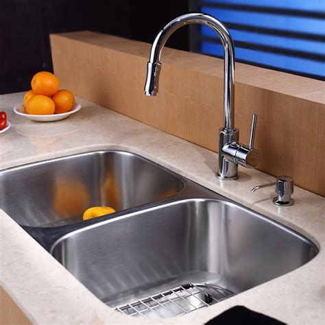 Two Bowl Kitchen Sink Kraus 8 Undermount Bowl Kitchen Sink Set Reviews Wayfair