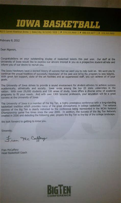 Commitment Letter For Basketball Briarwood College Athletics Prospective Athlete