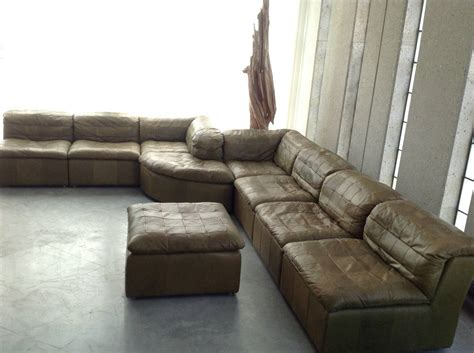 olive green sectional patchwork modular sofa in original olive green leather