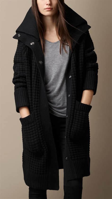 knit coat burberry wool knit cardigan coat in black lyst