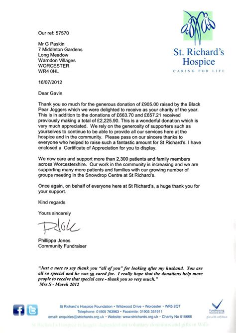charity nomination letter bpj nominated charity for 2012 black pear joggers
