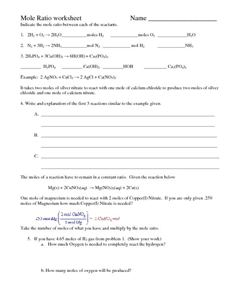 Mole Ratio Worksheet by Pictures Mole Ratio Worksheet Getadating