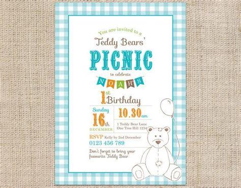 teddy picnic invitation template printable custom birthday invitation template