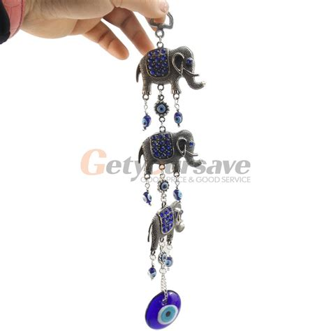 lucky elephants turkish blue eye nazar amulet wall