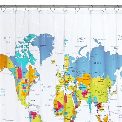 map curtain world map shower curtain white blue yellow saturday