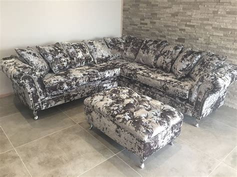 crushed velvet chesterfield sofa silver panther crush velvet corner sofa bespoke