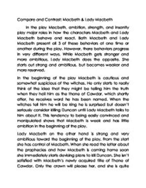 Macbeth Comparison Essay by Compare And Contrast Macbeth Macbeth Gcse Marked By Teachers