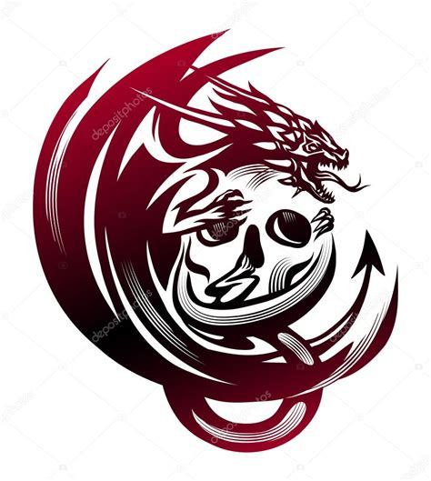dragon sitting on a skull tattoo stock vector 169 firin