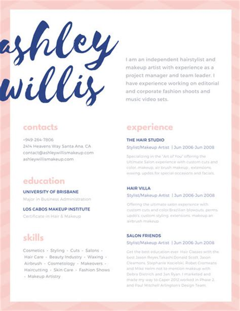 pink blue script creative makeup artist resume templates