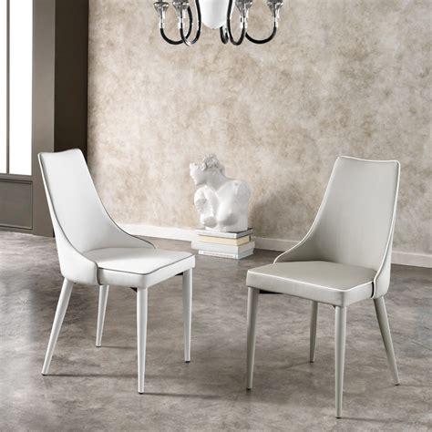sedie moderne set 2 sedie moderne in simil pelle bianche o grigie ofelia