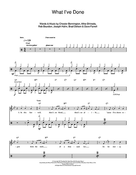 what ive done what i ve done drum tab by by linkin park drums 112213