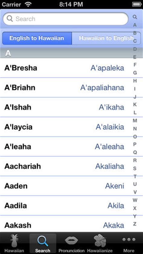 hawaiian names hawaiian names learn to translate speak your hawaiian name on the app store