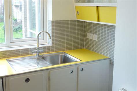 yellow countertops kitchen kitchen retro yellow gray white home