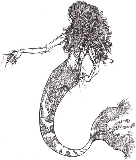 doodle line drawings mermaid line by demik109 on deviantart